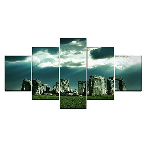 YYZC Cuadro en Lienzo Stonehenge Sigue Siendo Paisaje sobre Hierba Verde 150x80cm - Impresión de 5 Piezas Material Tejido no Tejido Impresión Artística Imagen Gráfica Decoracion de Pared -Sin Marco