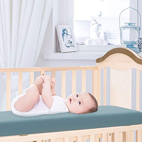 Crib Fitted Sheets 2 Pack Baby Crib Sheet Mattress Cover Soft & Hypoallergenic 50x90cm-Blue&Grey