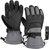 Touch Screen Ski & Snow Gloves - Waterproof Winter Snowboard Gloves for Men & Women for Cold Weather Skiing & Snowboarding - with Wrist Leashes & Synthetic Leather Shell - Touchscreen Compatible