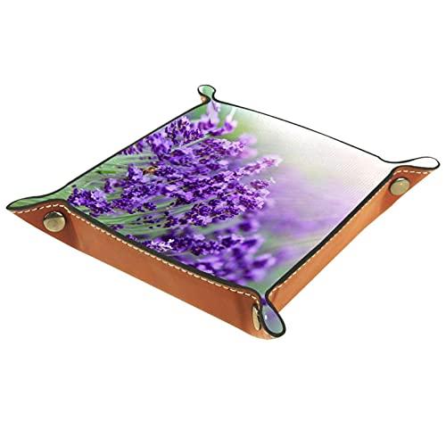 AITAI Bandeja de valet de cuero vegano organizador de mesita de noche placa de almacenamiento de escritorio Catchall flor de lavanda violeta