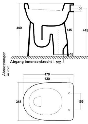 Ceravid Flachspül-WC Abgang innensenkrecht, Komfortlösung - erhöhte Sitzfläche +10 cm, WC Sitz muß extra bestelt Werden, C74221000
