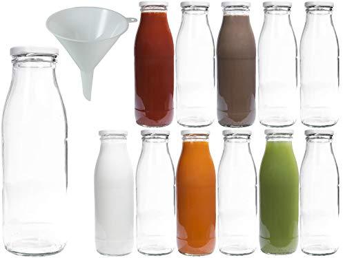 Viva Haushaltswaren - 12 x Weithals-Glasflasche 500 ml mit weißem Schraubverschluss, als Milchflasche, Saftflasche & Smoothieflasche verwendbar (inkl. Trichter Ø 12 cm)