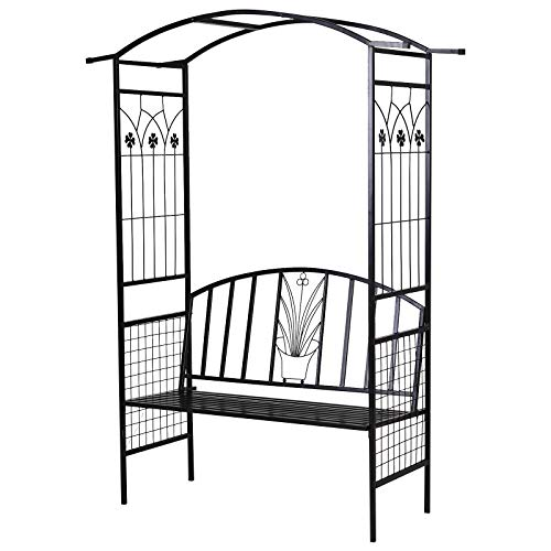Outsunny Garden Metal Arch Arbour with Bench Love Seat Outdoor Patio Rose Trellis Pergola Climbing Plant Archway Tubular - 152L x 58W x 207Hcm