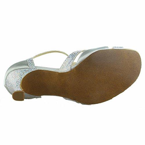 JIA JIA 20519 Damen Sandalen Ausgestelltes Heel Super-Satin Latein Tanzschuhe Silber, 38 - 7
