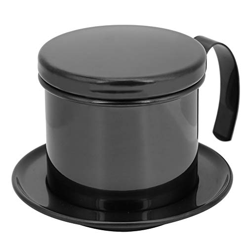 Vietnamese Pot Coffee Hand-Made Drip Pot Food‑Grade Stainless Steel Detachable Drip Cup Coffee Maker Best Gift Choice for Baristas and Coffee Lovers(Bright Black)