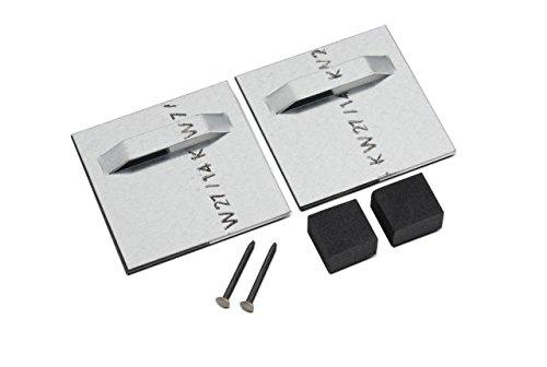 Crochet de suspension pour plaques composites en aluminium, miroir 70 x 70 mm.