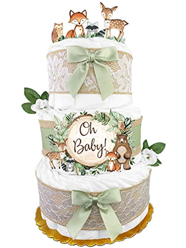 Woodland Creatures Diaper Cake - Gender Neutral Baby Gift - Burlap and...