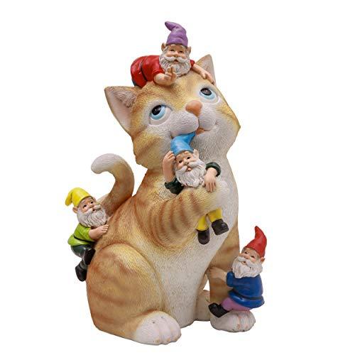 TERESA'S COLLECTIONS Statuetta a Forma di Gatto e Gnomi Giardino Decorazioni Animali da Giardino Resina, Statuetta a Forma di Gatto da Giardino 29cm