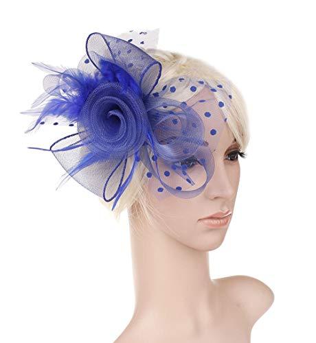 Accessoires pour cheveux Voile de mariée cheveux accessoires coiffure plume maille fil robe robe de soirée deux Roses bandeau Europe et Amérique-bleu royal