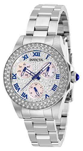 Invicta Relógio feminino Angel Quartz com pulseira de aço inoxidável, prata, 16 (modelo: 28473)
