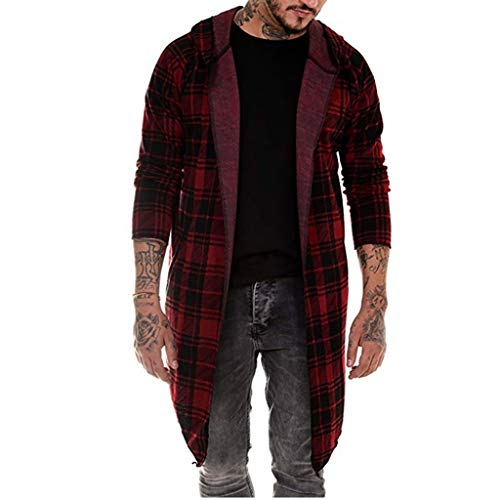 MIS1950s Men Splicing Hooded Trench Long Coat Stylish Plaid Cardigan Jacket