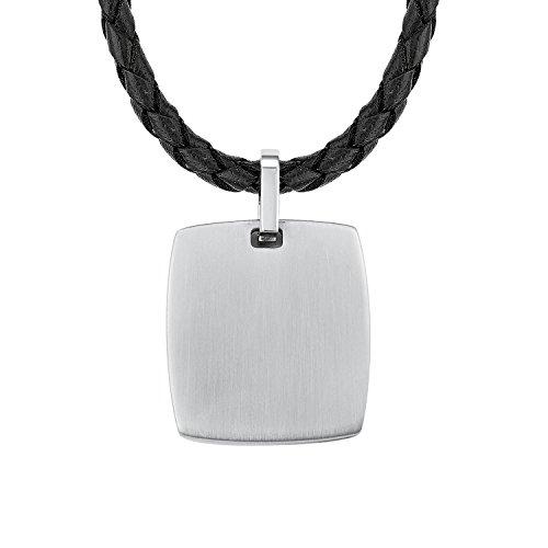 s.Oliver Herren Kette 47+3cm mit Anhänger grabierbar Edelstahl Lederband geflochten