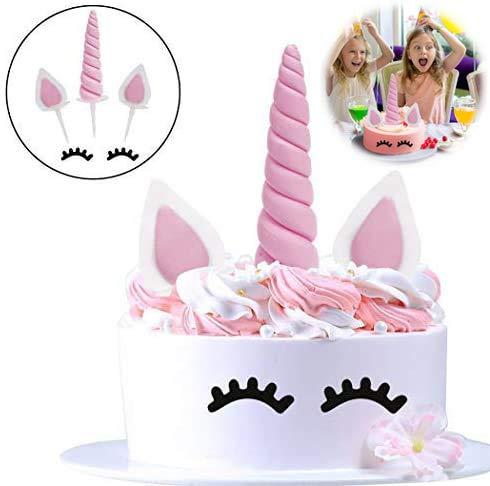 Unicorn Birthday Cake Topper, Einhornhorn, Ohren und Wimpern Set. Einhorn Party Dekoration für Babyparty, Hochzeit und Geburtstagsfeier 6er Pack (Pink)