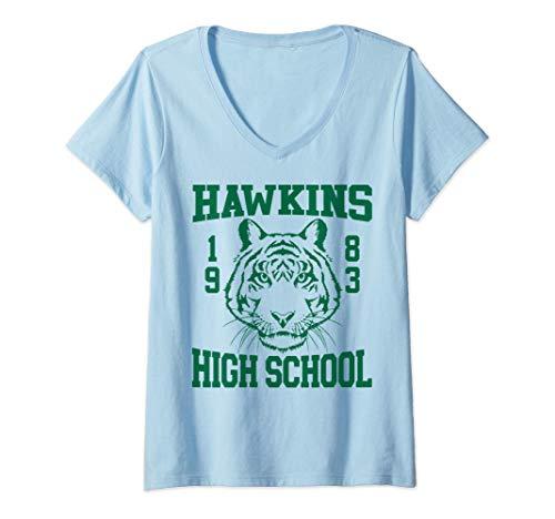 Donna Netflix Stranger Things Hawkins High School 1983 Maglietta con Collo a V