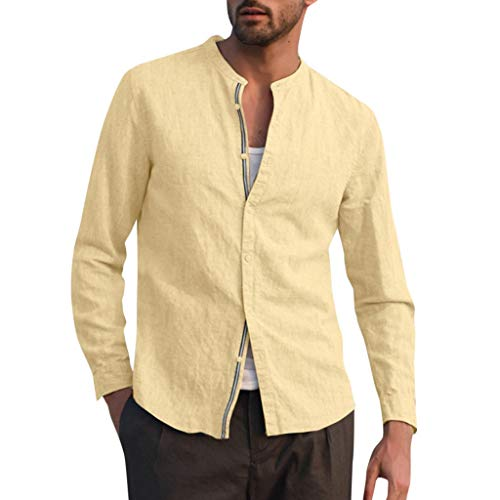 Eaylis Fashion Herren Normallacknachahmung Leinen Langarm SpleißEn Kragen Hemd, Rundhals Knopf T-Shirt, Mode Herrenhemd