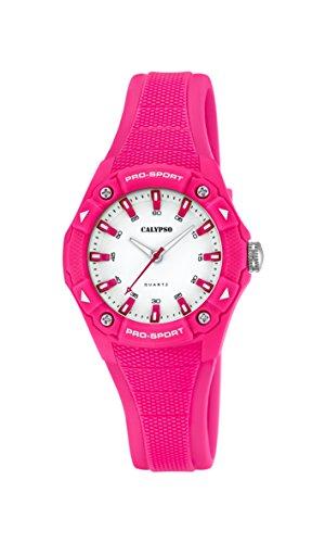 Calypso Reloj Unisex de Cuarzo con Correa de plástico en Color Blanco Esfera analógica Pantalla y Rosa K5675/3