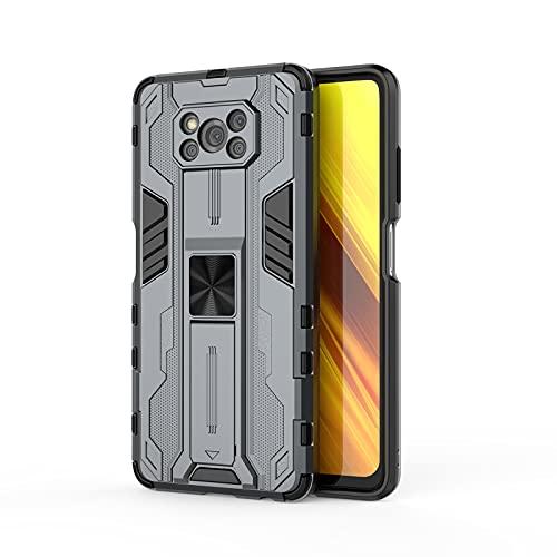 SHIEID Armadura Funda para Xiaomi Poco X3 Funda, Caja magnética del teléfono móvil del Coche Sujeción Soporte Antichoque Rígido Caja Case para Xiaomi Poco X3-Gris