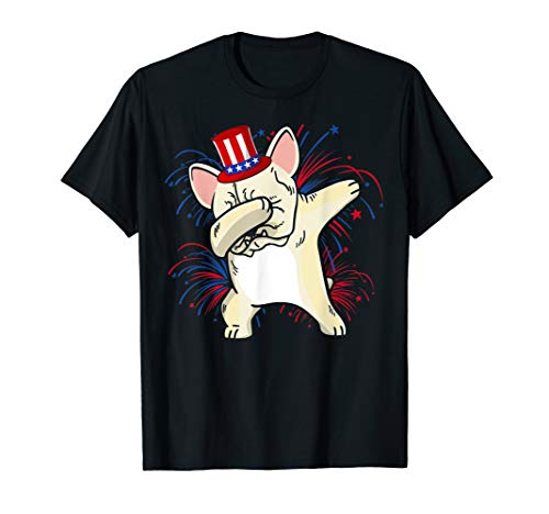 Dabbing French bulldog Patriotic 4th of July Tshirt Gifts