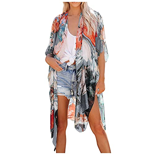 Damen Boho-Print Kimono - Sommer Chiffon Florale Lange Kimono Cardigan, Kimono mit Boho-Print Strand Chiffon Bluse Strandponcho Tops Casual Strand Cover Up Mode Drucken Pareos für Urlaub Sommer