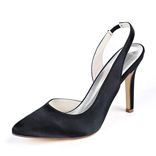 Mujer Zapatos De Tacón, Señora Puntera Cerrada Zapatos De Tacón Slingback Tira De Tobillo Zapatos De La Corte,Negro,39 EU