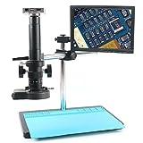 WHEEJE 37MP 1080P Freely Ajustable Stand USB HDMI Video Microscopio Industrial Microscopio Sistema Video Recorder 180x 300x Zoom Lens para Lab (Color : Grey D, Magnification : 180X)
