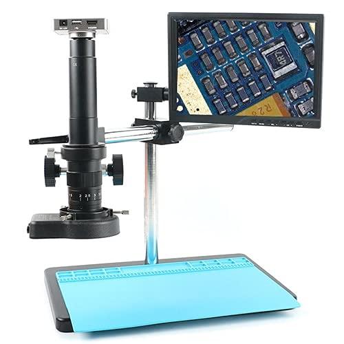 Manyao 37MP 1080P Freely Ajustable Stand USB HDMI Video Microscopio Industrial Microscopio Sistema Video Recorder 180x 300x Zoom Lens para Lab (Color : Grey D, Magnification : 180X)