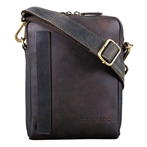 STILORD 'John' Small Men's Leather Shoulder Bag Vintage Cross Body Cross Over for 8.4 Inch...