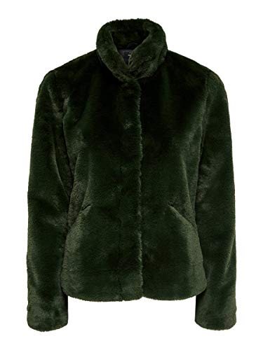 Only Onlvida Faux Fur Jacket Otw Noos Giacca, Verde (Forest Night Forest Night), Large Donna
