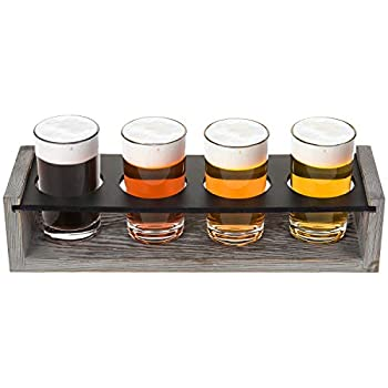 MyGift Vintage Gray-Washed Wood 4-Glass Craft Beer Tasting Flight Set Server Caddy Tray w/Erasable Chalkboard Surface