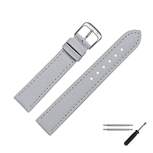 MARBURGER Uhrenarmband 20 mm Leder Vegan Grau - Werkzeug Montage Set 5202015000120