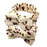 Dofash 2Pcs Cute Bowknot Makeup Headbands Washing Face Shower Hairbands Spa Headbands for Woman (Leopard Grain (Black and Pink)