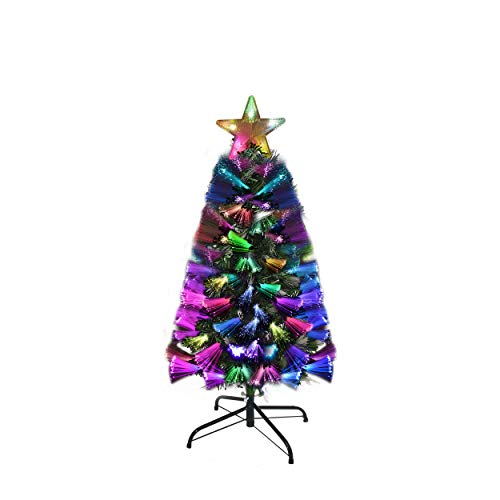 Holiday Essence Fiber Optic Christmas Tree 3 Foot, Prelit Artificial Tree with 100 Multi Color LED Lights, 99 Tips, Flashing Star Tree Topper and Metal Stand