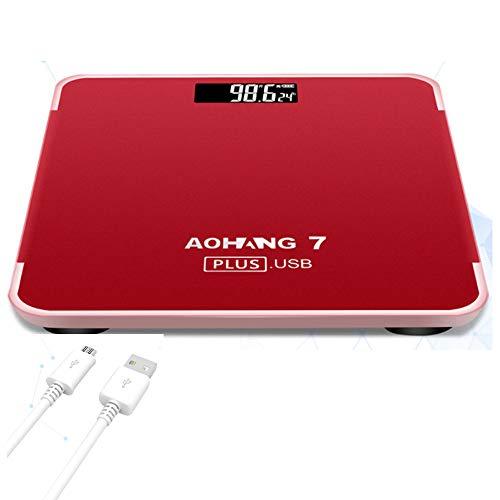USB wiederaufladbare elektronische Skala Digital Body Weight Bathroom Scale Household Precise Body Scales mit größerem LED-Display und temperierte Glasfläche 190KG