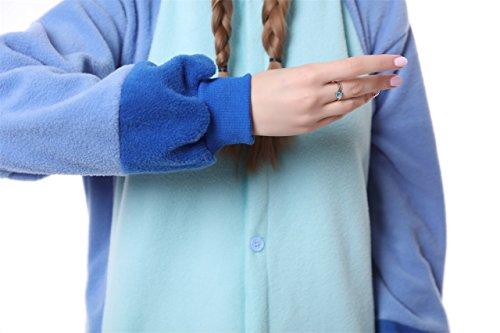 Blauer Pyjama für Erwachsene aus warmem Flanellstoff, Einteiler, Stitch-Design, Unisex Blue New Stitch - 6