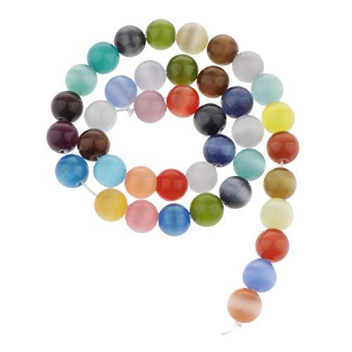 joyMerit Colores Ópalo Cuentas Redondas Sueltas para Hacer Joyas Piedra Natural Pulseras de Bricolaje Collar Pendiente Cuentas de Piedras Preciosas Pulidas Hec - Multicolor, 10mm 38pcs