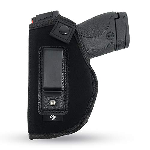 IWB Gun Holster by PH - Concealed Carry   Soft Interior   Fits M&P Shield 9mm.40.45 Auto/Glock 26 27 29 30 33 42 43 / Ruger LC9, LC380   Taurus Slim, PT111, GX4   Springfield XD Series (Left Hand)
