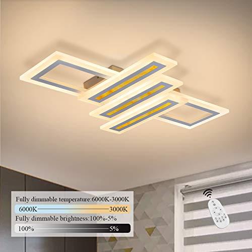 GBLY LED Deckenleuchte Dimmbar 44W Modern Deckenlampe 60cm Geometrisch Wohnzimmerlampe Designlampe mit Fernbedienung, Innen Deckenbeleuchtung für Schlafzimmer Wohnzimmer Esszimmer Arbeitszimmer