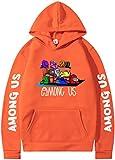 MINIDORA Multicolor Hombre Nuevo Hoodie Among Us Suéter Sudadera con Capucha(S,Naranja)