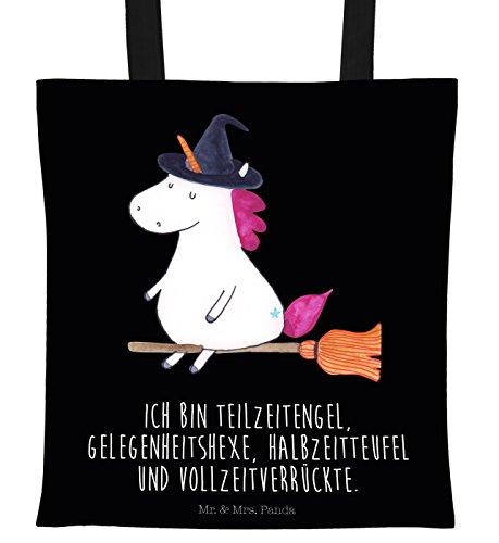 Mr. & Mrs. Panda Beutel, Einkaufstasche, Tragetasche Einhorn Hexe mit Spruch - Farbe Schwarz