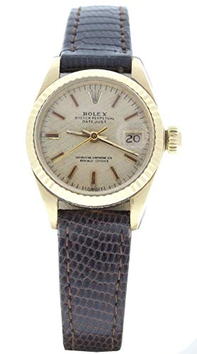 Rolex-Ladys-Datejust-26mm-18k-Yellow-Gold-Watch-Model-6917-Champagne-Linen-Dial-Preowned