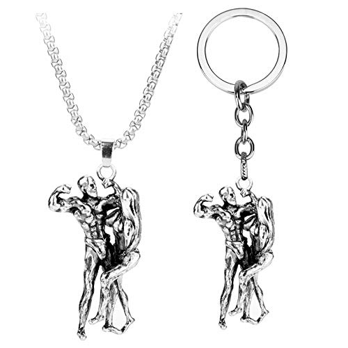 YUNMENG 2pc Sport Fitness Jewelry Necklace Muscular Man Woman Pendant Necklaces Bodybuilder Charm Trinket Key Chain Necklace Gift