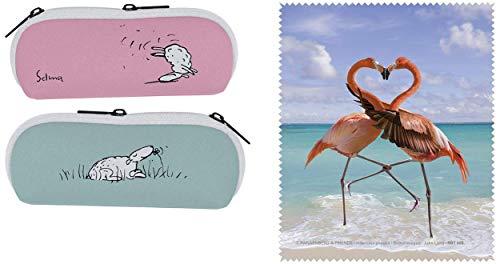 Geschenkidee 2er Set Brillenetui & Brillenputztuch/Mikrofasertuch Schaf Selma - was ist Glück & Flamingos - Von Herzen