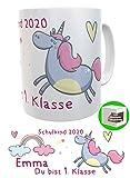 Kinderlampenland Namens-Tasse Einhorn Schulkind zur Einschulung Schultüte Geschenk für...