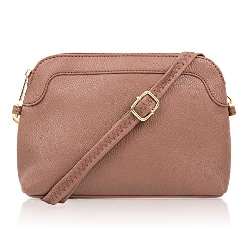 Classic Rectangle Vegan Leather Small Purse Handbag - Structured Camera Messenger Travel Shoulder Crossbody Strap Bag (Classic Dome Crossbody - Blush)