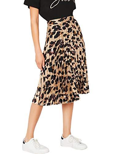 WDIRARA Women's Casual Mid Waist Leopard Print Pleated Satin Midi Skirt Multicolor L