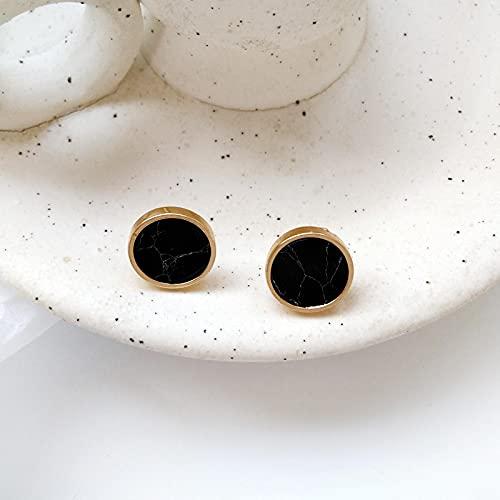 FEARRIN Pendientes de diseño único de Moda Joyería de Mujer Minimalista Restauración de Formas Antiguas Pendientes Naturales Redondos Pendientes Geometría Negro