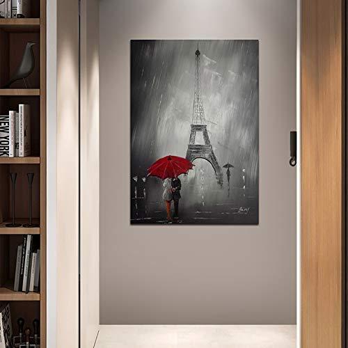 KWzEQ Liebespaar mit rotem Regenschirm Ölgemälde Paris Turm Stadtansicht Wohnzimmer Wanddekoration Gemälde,Rahmenlose Malerei,60x90cm