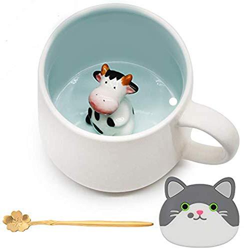 Keramik Kaffeetasse Lustige Teetassen Handgemachte Nette Kuh Tasse 3D Für Freunde Mitbewohner Familie oder Kinder 3D Niedliche Tierkaffeetasse Als Überraschungsgeschenk Geburtstagsgeschenk 13.5 Oz