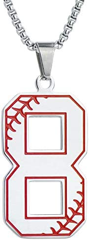 Cute Number 8 Pendant Baseball Necklace Stainless Steel Silver Baseball Uniform Lucky Number product image