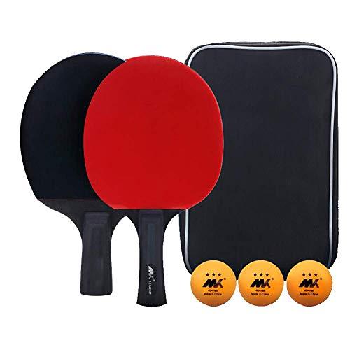 Draagbare Indoor Outdoor Travel Tafeltennisrackets Set van 2, inclusief 1 lange pingpongpeddel en 1 korte tafeltennistafel, 3 ballen en opbergtas